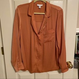 Topshop Burnt Orange Pajama Blouse